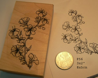 P56 Oriental flowers rubber stamp