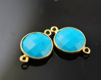 Larger 2 matching turquoise coins with vermeil pendants 20.00