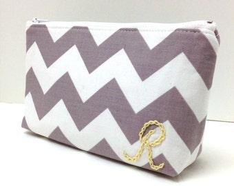 Monogram Bridesmaid Clutch, Makeup Bag, Zipper Pouch, Gray Taupe Chevrons