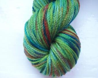 Hand painted yarn 50g alpaca merino acrylic mix - emerald, lime green, blue, brown