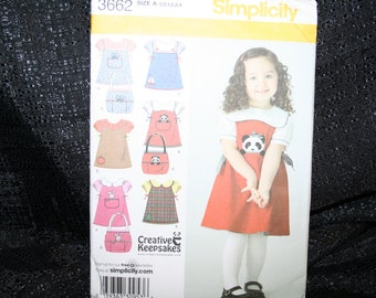 Uncut, Factory fold, Simplicity 3662 Toddler's Jumper Blouse and Tote Bag Sewing Pattern, Sizes Toddler 1/2,1,2,3,4,School Clothes,SEWBUSY12
