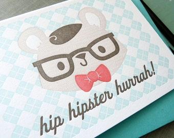 Hip Hipster Hurrah Letterpress Note Card