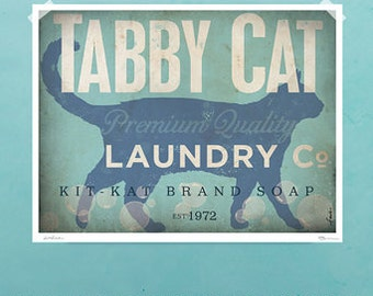 Tabby Cat laundry company laundry room artwork giclee archival signed artists print by Stephen Fowler
