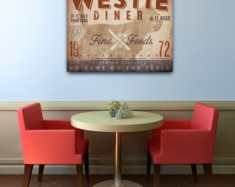 Westie West Highland Terrier dog kitchen diner artwork on gallery wrapped canvas by Stephen Fowler Pick Your Breed