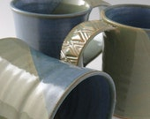 Coffee Tea Cocoa Mug in Jade Green and Cornflower Blue