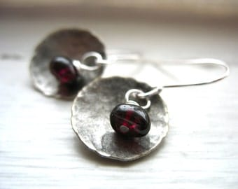 Garnet Earrings, Garnet Stone Hammered Silver Dome Earrings, Handmade stone earrings, Metalwork earrings, Stone Earrings, Dangle Earrings