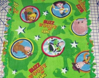 Disney Toy Story Buzz Lightyear Woody  Hand Tied Fleece Baby Pet Lap Blanket  Boys Girls Blue Green