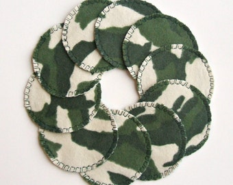 10 Camo Cotton Rounds, Washable and Reusable, Camoflauge Make-up Remover Pads