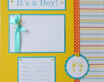 20 BABY BOY Scrapbook Pages for 12x12 FiRsT YeAr ALbUm -- happy and bright