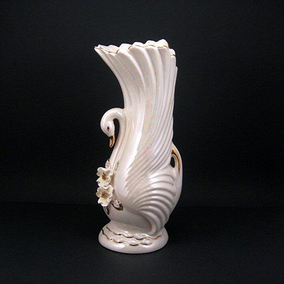 Vintage White Swan Flower Vase With Dogwood Blossoms Ceramic