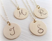 Personalized gold initial necklaces, bridesmaids gift set of FOUR 4, large gold initial, gold monogram necklace, custom bridesmaids jewelry
