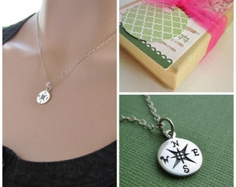Compass necklace, nautical jewelry, north, south, east, west, sterling silver compass charm, life is a journey necklace, friendship gift