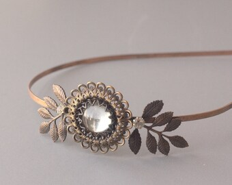 Vintage bridal headband copper brass antique style crystal wedding hair accessory 1920's art nouveau style leaves leaf filigreee elegant
