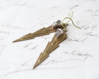 Art deco earrings geometric brass crystal jewel 1920's vintage style glamour