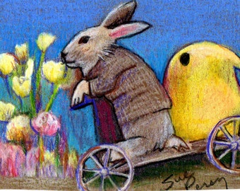 original art drawing aceo Easter bunny and his peep spring flowers