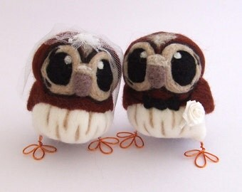 Owl Wedding Cake Topper Tawny Owls Bride and Groom in Chestnut Brown
