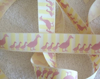 Cream based Pink Duck Grosgrain Ribbon. 25mm x 2 metres