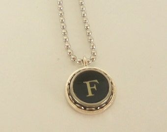 Typewriter Key Necklace -  Letter F - Vintage - Initial Jewelry -  ALL Letters Available - Typography Jewelry