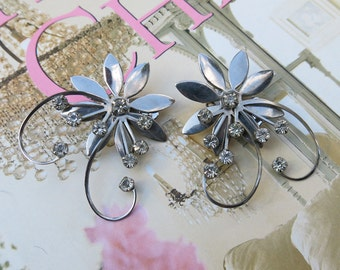 Vintage Clear Rhinestone Super Large Flower Swirl Earrings ... 1950's