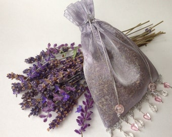 Organic Fancy Lavender Sachet Silvery Lavender Color with Beaded Embellishments