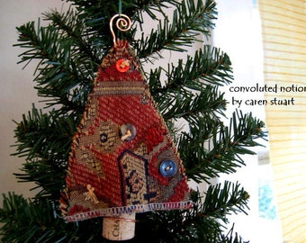 wine cork christmas tree ornament with vintage buttons shabby chic handmade decoration holiday decor