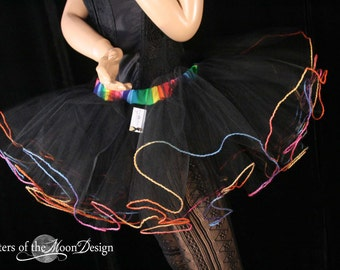 black adult tutu skirt with rainbow trim extra poofy bridal goth club gogo dance cosmic color  run  - You Choose Size -- Sisters of the Moon