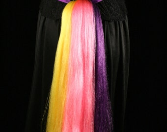 My Little Pony tail hair fall tie on bustle style cosplay costume halloween purple pink yellow magic - Sisters of the Moon