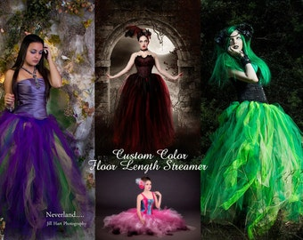 Custom Color Tulle tutu skirt Streamer floor length formal prom dance bridal wedding fantasy steampunk -All Adult Sizes- Sisters of the Moon