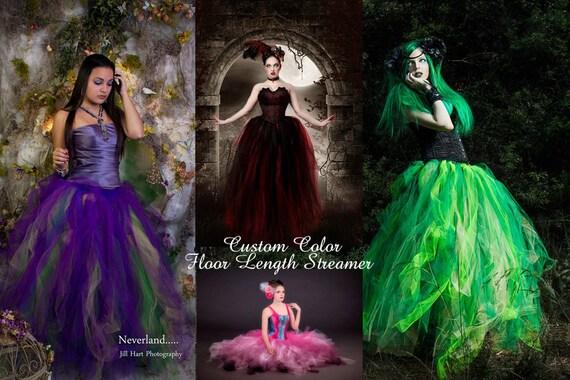 Custom Color Tulle tutu skirt Streamer floor length formal prom dance bridal wedding fantasy steampunk -All Adult Sizes- Sisters of the Moon