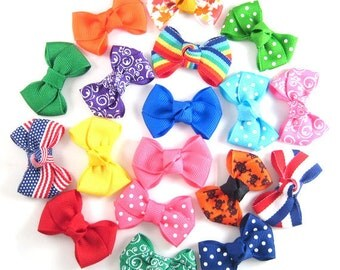6 Baby Hair bows  -  Choose 6 - Infant Hair Bows - Toddler Hair Bows - Snap or Alligator clips - Choose from over 100 colors and prints