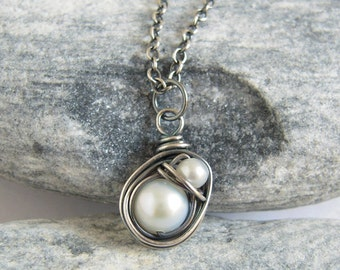 White Pearl Bird Nest Necklace, Mom And Baby, Oxidized Sterling Silver, Freshwater Pearl Necklace, Baby Shower Gift