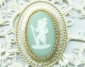 Vintage Cameo,  Wedgewood, Cameo Pin,  Green Jasperware,  Gold Filled Pin,  Religious Christian, Made In England, St Christopher, Baby Jesus