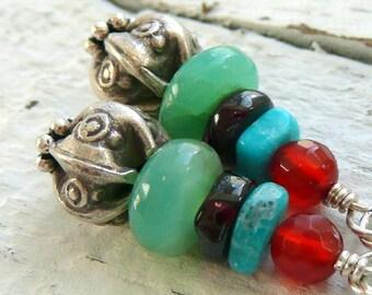 Multi Gemstone Sterling Silver Gypsy Bohemian OOAK Dangle Earrings