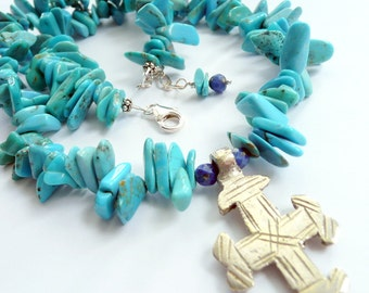 Handcrafted Artisan Coptic Cross Turquoise Lapis Sterling Silver OOAK Southwestern Tribal Bohemian Statement Necklace