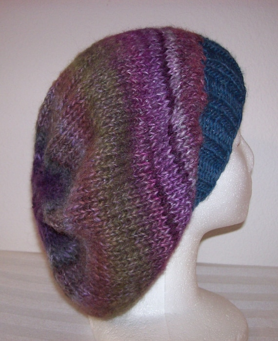 Slouchy Toque Knitting Pattern : Wool/Acrylic Slouch Hat Slouchy Knit Beanie Knitted