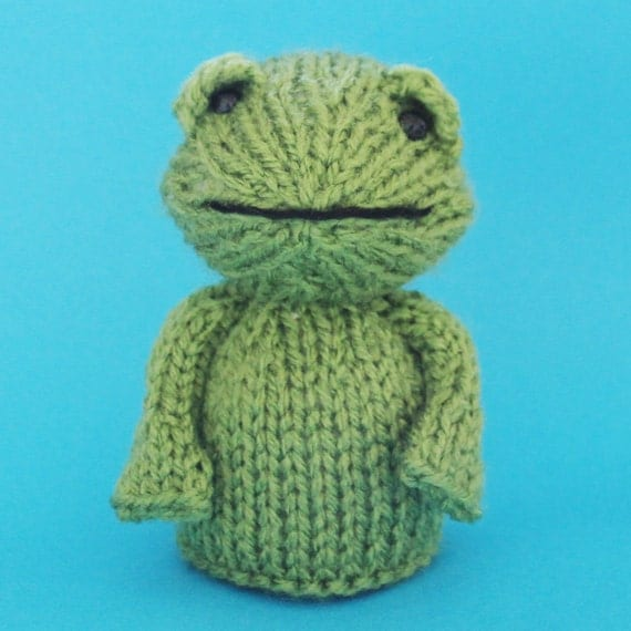 Frog Toy Knitting Pattern (PDF)  Legs, Egg Cozy & Finger Puppet instructions included