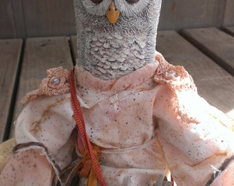 ODESSA OWL contemporary folk art metaphysical primitive art doll
