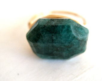 Raw Emerald Ring Statement Gemstone Ring Gold or Silver Vitrine Gift for her Under 125