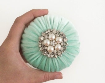 "4"" Mint Green Emery Pincushion / Pin Cushion _ Keep your needles clean and sharp"