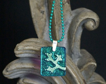Tree Branch Teal Carved Dichroic Glass Pendant - FREE SHIPPING!