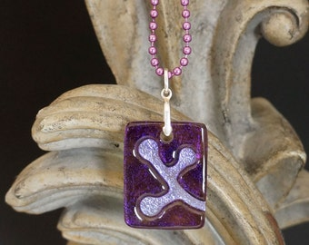 Berries Grape Carved Dichroic Glass Pendant - FREE SHIPPING!