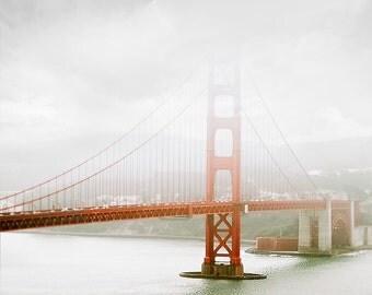 San Francisco Photography, Golden Gate Bridge, black and white, red, grey, wall art, California decor, architecture