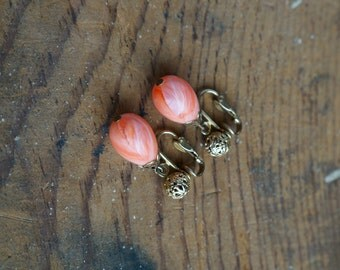 Vintage Drop Earrings --- 1960s Coral Swirl Dangle Earrings