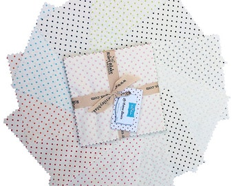 """SQ59 Riley Blake Le Creme Swiss Dots Precut 5"""" Stacker Fabric Quilting Cotton Charm Pack Squares 5-600-11"""