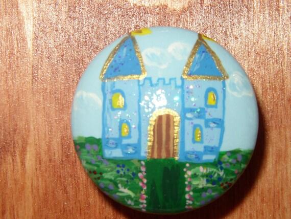 Hand painted custom (1) castle drawer pull knob