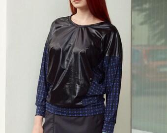 Black and blue shirt, graphic lycra longsleeve top shirt, black shirt, blue shirt, wetlook shirt, printed longsleeve, rave longsleeve MASQ