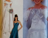 Off Shoulder Wedding Evening Gown Pattern Style 2872,  Sizes 8 10 12 14 16 18, Uncut