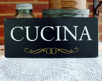 CUCINA Wood Sign for Italian Kitchen Plaque Wall Decor Italy
