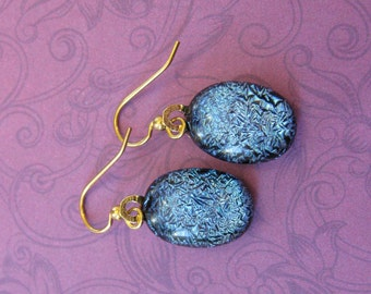 Blue Earrings, Dangle Fused Glass Jewelry, Blue Dichroic Jewelry on Etsy - Spring Skies - 2245 -4