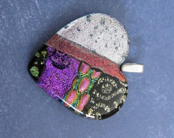 Heart Necklace, Colorful Dichroic Glass Jewelry, Fused Glass Pendant, Purple Silver Pink Gold, Gift for Girlfriend - Secret Love - 4629 -4